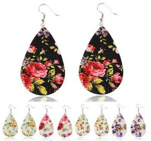 Christmas Accessories Gift Rose Flower PU Leather Jewelry Pendant Fashion Oval Cartoon Earrings Charms Free DHL 0906-06
