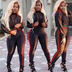 Wholesale 2018 TWO PIECE SET Hoodies Tracksuit Women Joggers Sweat Suits Outfit Long Sleeve Track Pants Side Stripe Sportswear Clothing