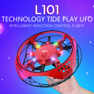 LYZ UFO Induction Aircraft Toy, Gesture Sensing Interactive Drone, Altitude Hold Quadcopter, Colorful Lights, for Xmas Kid Birthday Gift,2-1