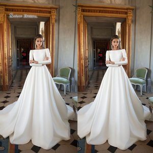 Wholesale 2019 Vintage Satin Modest Bride Dress Long Sleeves A-Line Wedding Dresses Bridal Gown High-end Boutique Gowns