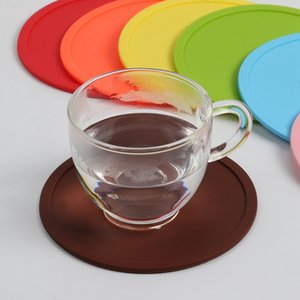 Wholesale Silicone Coaster Non Slip Table Mats Round Cup Pad Heat Resistant Silicone Placemats for Cafe Kitchen Restaurant HHA913