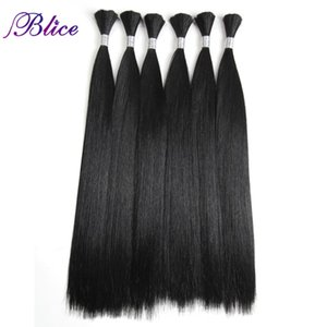 Wholesale Blice Synthetic Hair Bundles inch Long Straight Pure Color Hair Bulk Crochet Latch Hook Synthetic Color Extension