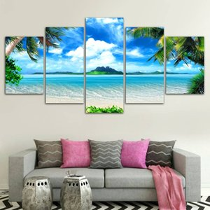 Wholesale beach decor picture frames resale online - HD Printed Beach blue palm trees Painting Canvas Print room decor print poster picture canvas No Frame