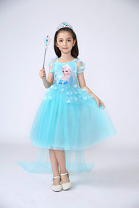 Summer Autumn Girl Princess Dress Frozen Costume Formal Skirt Tulle Skirt Stage Costume A Blue+Pink+Violet Short Dress With D Embroidery