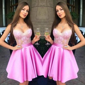 Pink Short Party Dresses Scoop A-Line Lace Appliques With Sashes Special Occasion Dresses Sexy Evening Dresses on Sale