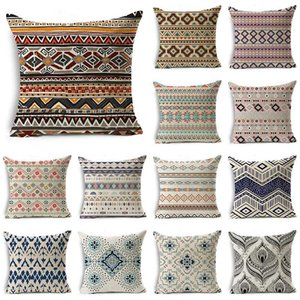 Wholesale WZH Strips Cushion Cover x45cm Linen Decorative Pillow Cover Sofa Bed Pillow Case