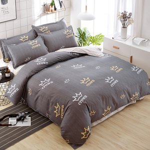 Wholesale New Design Luxury Brown Crown Printing Bedding Set Twin Full Queen King Size Adults Bedclothes Duvet Cover Flat Sheet Pillowcase