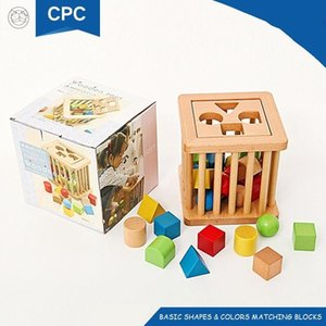 Wholesale Wooden bricks Waldorf toy building blocks Colors shapes matching cognition bucket for years old kids Children gift