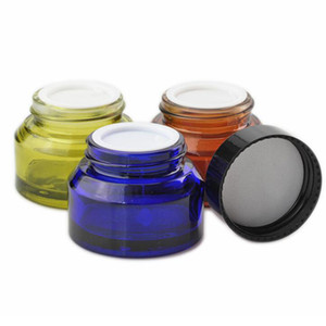Wholesale cosmetic jars black lids resale online - Slanted Shoulder Glass Cream Bottles g g g Brown Clear Green Blue Cosmetic Jars Hand Face Packing Bottles With Black Lids