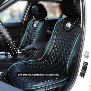 leather cover Leather Cover Crown Rivets Auto Interior Seat Cushion Accessories Black Universal Size Front Seats Covers Car Styling on Sale
