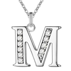 Wholesale Fashion Silver Crystal Letter A B C D E F G H I J K L M N O P Q I S T U V W X Y Z Alphabet Pendant with Clavicle Chain Necklace