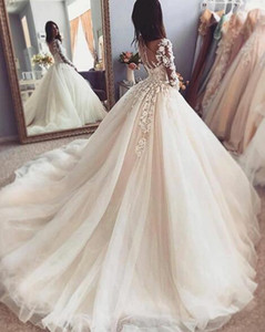 2019 Vintage Wedding Dress for Maternity Bridal Gowns Vestido De Noiva Gorgeous long sleeve Wedding gowns with hand flowers on Sale