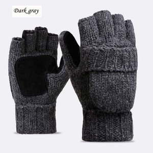 Wholesale Unisex Plus Thick Male Fingerless Gloves Men Wool Winter Warm Exposed Finger Mittens Knitted Warm Flip Half Finger Gloves