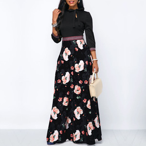 Wholesale Women Long Maxi Dresses Bohemia Hollow neck Three Quarter Sleeve Floral Print Ethnic Summer Beach Female Stylish Style Dress