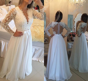 White Elegant Evening Dresses With Lace Applique Beading Plunging Long Sleeves Prom Gowns With Sash Floor-Length Custom Made Party Dress on Sale