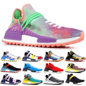 Wholesale 2019 NMD Human Race Pharrell Williams X BBC Yellow Black Nerd Sports Running Shoes designer Men Shoes Women sneakers With Box