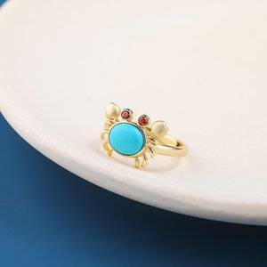 Wholesale crab rings for sale - Group buy CMajor S925 Sterling Silver Gemstone Jewelry Sweet Delicate Crab Style High Quality Brand New Turquoise Fashion Rings for Women