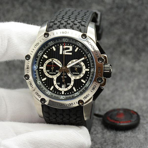 wholesale Men Wristwatches 45.5MM Quartz Chrono Superfast Black Dial and Rubber Strap Mens Watch Watches Stainless Steel Case