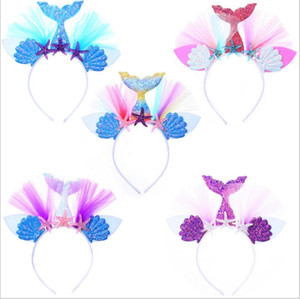Wholesale Girl Mermaid Tail Hair Sticks Cute Kids Shell Sequin Headband princess Blink Starfish Hairwear Princess Party Hair Accessory Styles LT1168