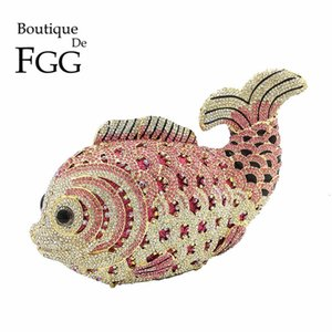 Wholesale Boutique De Fgg Multi Pink Crystal Diamond Women Fish Evening Clutch Bag Bridal Mini Metal Handbag And Purse Wedding Clutches Y190627