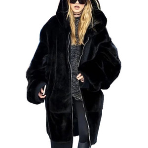 Wholesale Winter Long Faux Fur Coats Women Fake Rabbit Fur Thick Solid Outerwear Female Warm Hooded Jackets Hot Sale Coats Femme