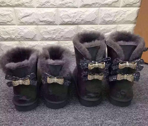 2019 shipping Australia Classic New fashion WGG single double diamond Snow boots female winter leather bow rhinestone crown warm thick Cotto