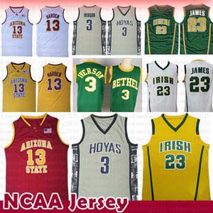 7fb4e1881091 NCAA Georgetown Allen 3 Iverson Baseball Jersey College University LeBron  23 James 13 Harden Bethel Irish