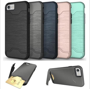 Wholesale IPHONE7 PLUS S PLUS S S7 S7EDGE A5 brushed card holder phone case