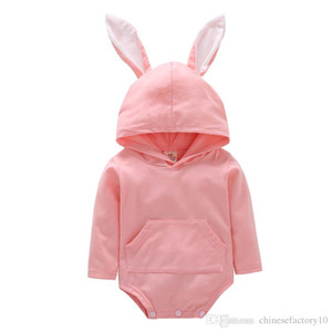 Wholesale toddlers hooded jumpsuits resale online - INS Baby Rabbit Romper Hooded Bunny Ear Easter Jumpsuits Long Sleeves Cartoon Toddler Rompers Cotton Spring New