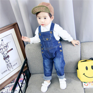 Wholesale Children's Denim Overalls Baby Jeans Pants Baby Boys Girls Trousers Infant Clothing Toddler Babies Pants Little Kids 1-3 Years J190509