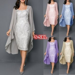 Wholesale Two Piece Plus Size Mother s Dresses Chiffon Knee Length Floral Pattern Mother Of The Bride Dresses Formal Guest Wedding Wear