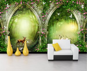 Wholesale 3d mural wallpaper flower for home for sale - Group buy custom wallpaper Forest arch flower vine d wallpaper walls For living room bedroom Creative photo wall mural home improvement mural paper