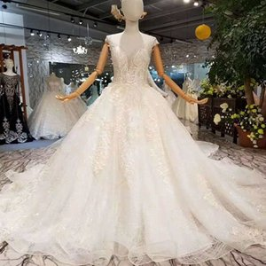 Simple Wedding Dresses 2019 Newest Fshion Design Illusion O-Neck Cap Sleeve Wedding Gown Detachable Train Wholesaler Discourt Free Shipping on Sale