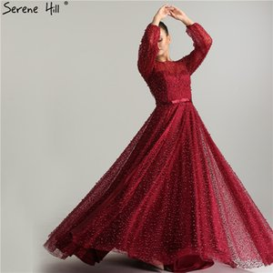Wholesale Lantern sleeve High Split Wine Red pearls Lace Long Sleeve Evening Dresses Luxury Evening Gown Real Photo Dubai LA6348
