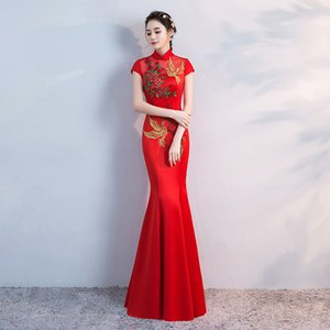 Wholesale Red Women Mermaid Long Party Dress Cheongsam Chinese Style Embroidery Elegant New Prom Dress Ball Gown Vestido S XXL