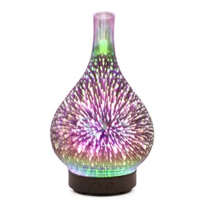 3D Fireworks LED Night Light Air Humidifier Glass Vase Shape Aroma Essential Oil Diffuser Mist Maker Ultrasonic Humidifier Gifts