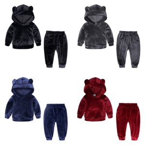 Wholesale INS Kids Tracksuits Gold Velvet Girls Sportwears Boy Hoodie Tops Pants Sets Baby Boys Clothing Sets Colors Optional YW1834