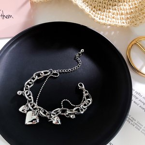 Wholesale 2019 Vintage Elegant Heart Human Face Silver Coin Chain Round Bracelet Metal Hand Jewelry Irregular Beads Bangle for Women