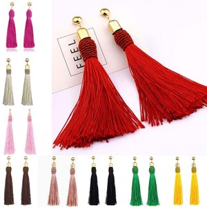 Wholesale Brand Tassel Earrings Women Fashion Jewelry Bohemian Drop Dangle Long Earrings Silk Fabric Ethnic Vintage Earrings hot sale