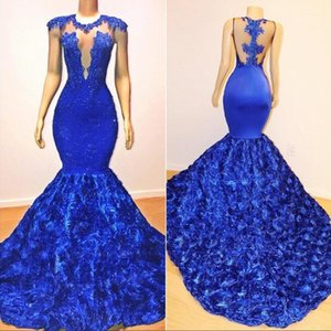 Sexy Royal Blue Mermaid Prom Dresses Sheer Neck Sleeveless Lace Appliques Beaded Rose Flowers Evening Dress Party Pageant Formal Gowns on Sale