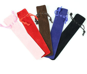 Velvet Pen Pouch Holder Single Pencil Bag Pen Case Rope Locking Gift Bag 5 colors mixed wholesale