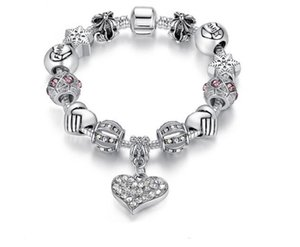 Wholesale European and American silver bracelet ladies snowflake love DIY beaded bracelet female Explosion alloy jewelry Valentine s Day gift