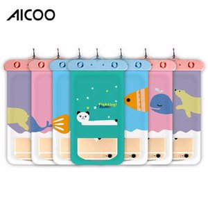 Wholesale Aicoo Cartoon style Universal Pouch Waterproof Bags PVC Protective for Diving Swimming Sports Fixed Size for iPhone X Blister Card Packging