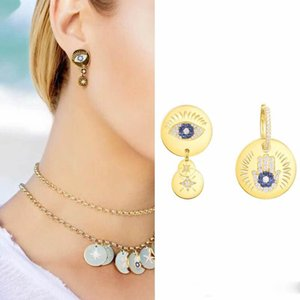 Wholesale New Hot Trendy Yellow Gold Plated Angle Eye Earrings for Girls Women for Party Wedding Nice Gift