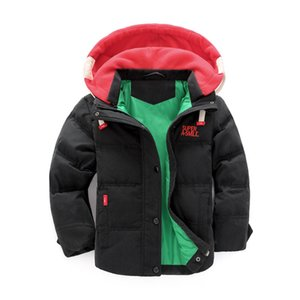 Wholesale 4t boys outfits resale online - Boy Down Hooded Jacket Teenager Solid Splice Hooded Zipper Coat Kids Casual Clothes Winter Casual Pocket Outfits Kids Boy Outwear T