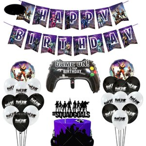 Personality Purple Gamepad Pull Flag Cake Inserts And Other Aluminum Balloon Set Birthday Game Party Children's Day Decoration J190723