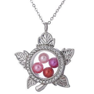 Wholesale silver maple resale online - K1495 Silver Color Maple Leaf Rhinestone Magnetic Glass Floating Locket Pendants Women Charms Necklace