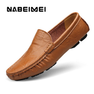 Men shoes genuine leather loafers men slip-on solid brand shoes plus size 4.5-16 men leather massage breathable shoe #187968