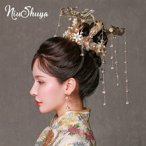 Wholesale NiuShuya Gold Peacock Chinese Style Vintage Wedding Hair Accessories Tassel Flower Hair Ornaments Jewellery Headband Accessories