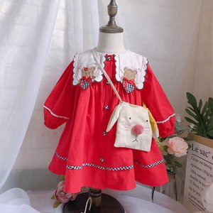 UK Spain style new Girls clothing Long Sleeve girl Dress Red Bear Dress Spring autumn Pet Pan Collar Clothing Dress